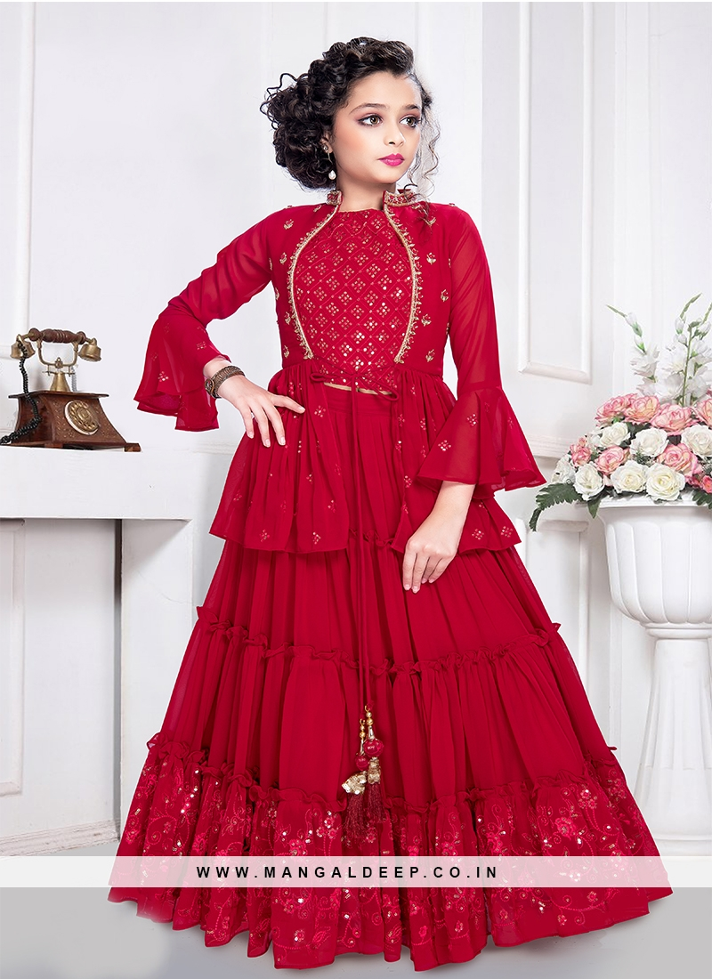Red Color Georgette Sequins Work Girls Kurti Set