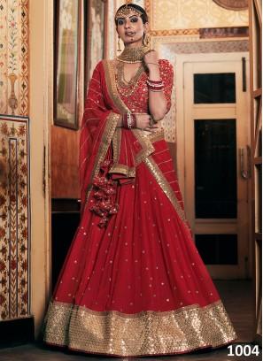 Red Color Georgette Wedding Wear Lehenga