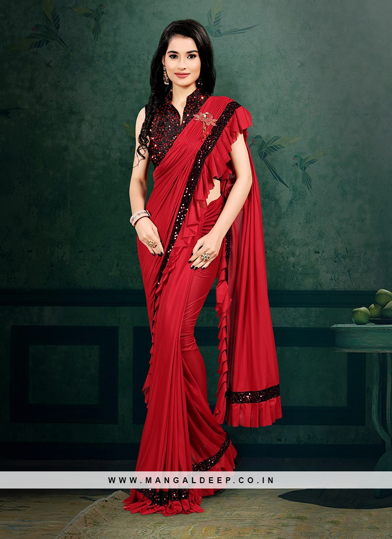 Red Color Imported Ready To Wear Saree