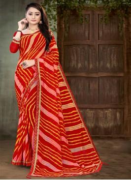 Red Color Leheriya Georgette Saree