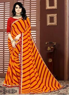 Red Color Leheriya Printed Saree