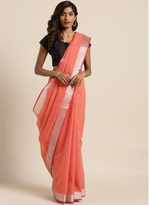 Red Color Linen Silk Daily Wear Saree