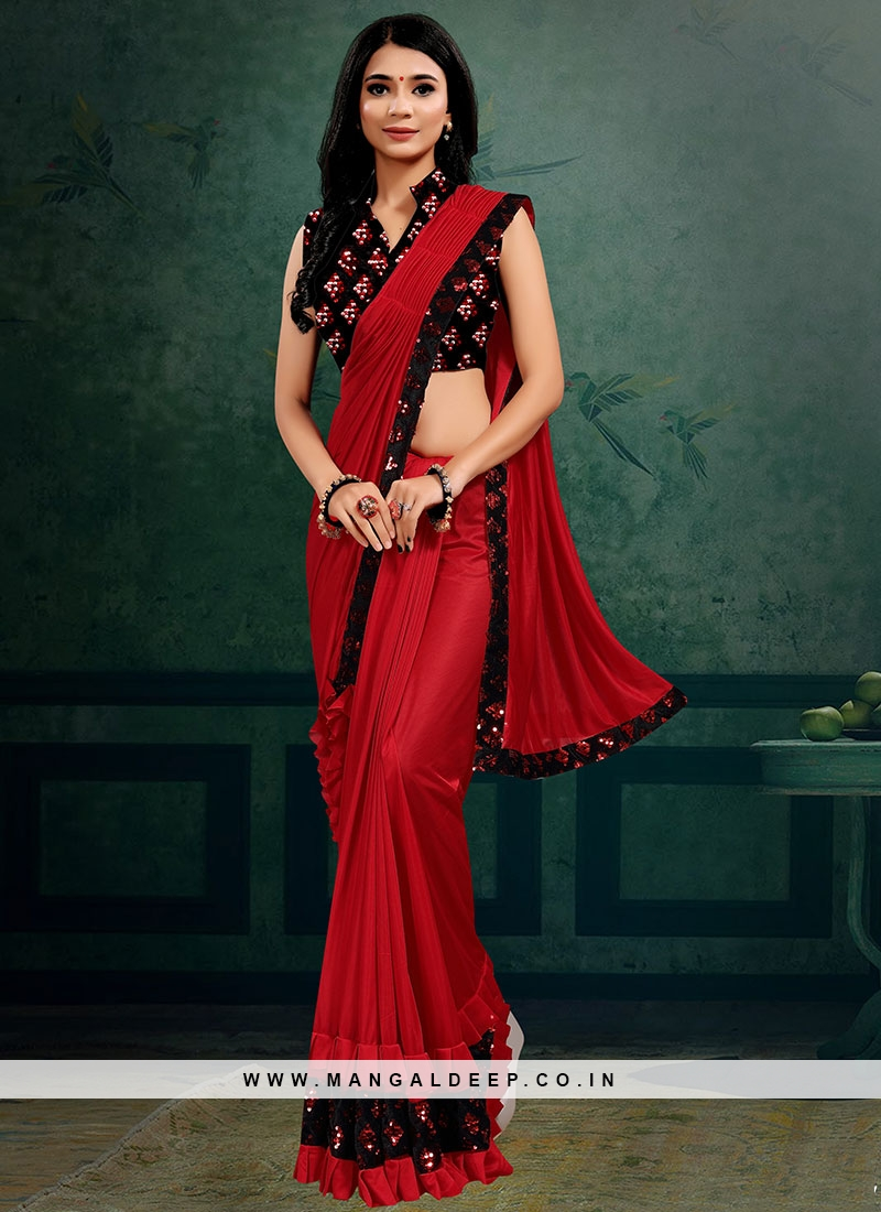 Red Color Lyrca Adorable Saree