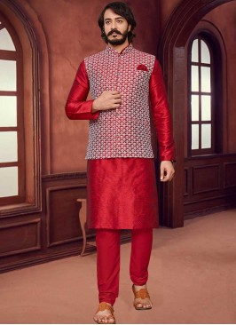 Red Color Mens Kurta With Jacket