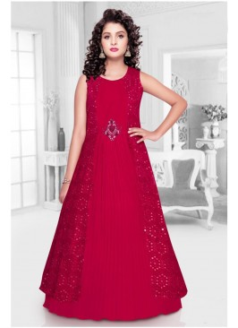 Red Color Mirror Work Georgette Kids Gown