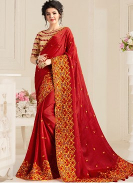 Red Color Natural Fabric Stylish Saree