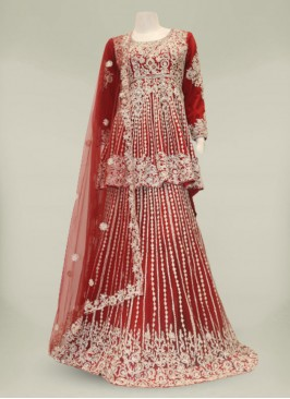 Red Color Net Diamond work Ladies Suit