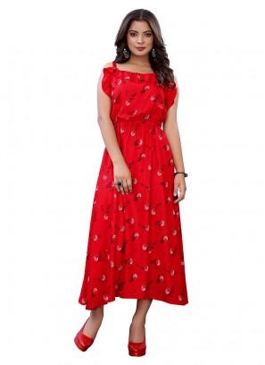 Red Color Printed Fancy Kurti