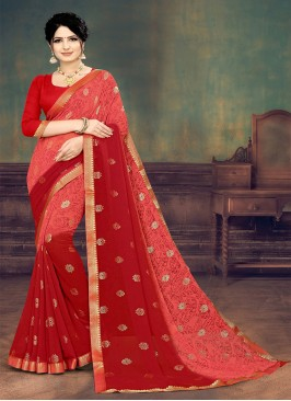 Red Color Printed Georgette Saree