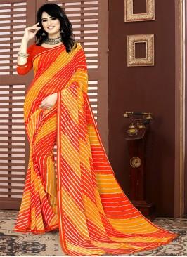 Red Color Printed Leheriya Saree