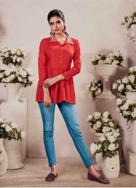 Red Color Rayon Embroidered Top