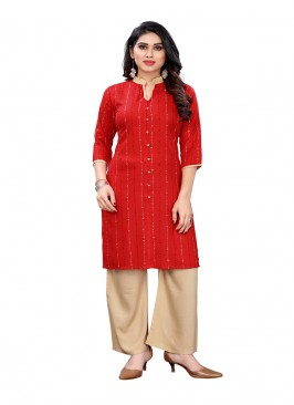 Red Color Rayon Kurti For Ladies