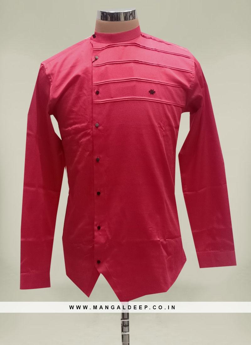 Red Color Rayon Mens Short Kurta