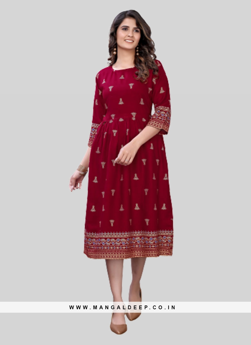Red Color Rayon Office Wear Kurti