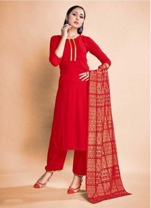 Red Color Rayon Readymade Suits