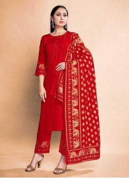 Red Color Rayon Salwar Kameez
