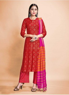 Red Color Rayon Salwar Suit Readymade