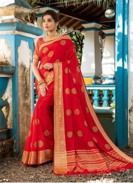 Red Color Resham Silk Festive Wear Saree