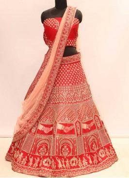 Red Color Resham Work Silk Lehenga