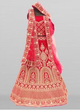 Red Color Resham Work Velvet Lehenga