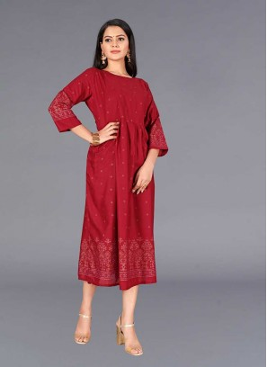 Red Color Round Style Cotton Kurti