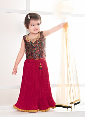 Red Color Silk Baby Girl Lehenga