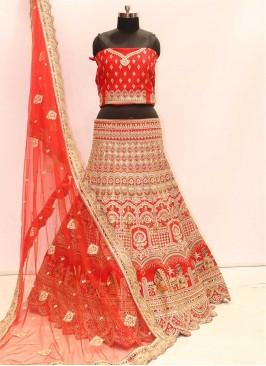 Red Color Silk Bridal Chaniya Choli
