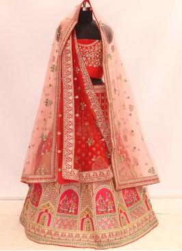 Red Color Silk Bridal Wear Lehenga