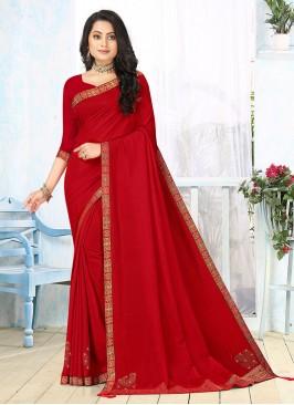 Red Color Silk Casual wear Saree