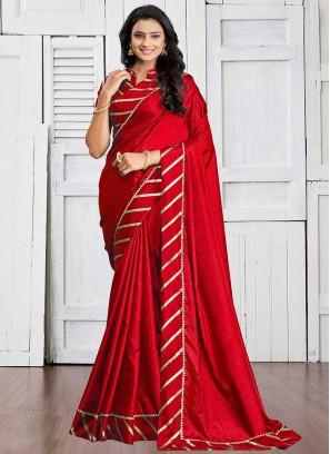 Red Color Silk Cotton Festive Wear Saree