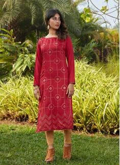 Red Color Silk Cotton Kurti