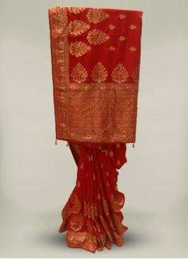 Red Color Silk Cut Dana Work Stylish Saree