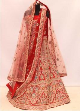 Red Color Silk Designer Bridal Lehenga