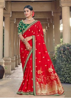 Red Color Silk Embroidered Indian Saree