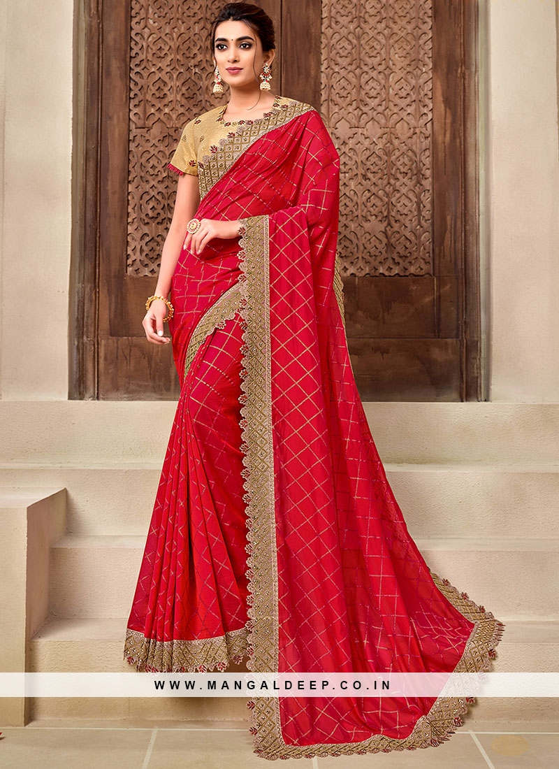 Red Color Silk Georgette Latest Saree