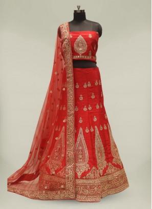 Red Color Silk Gota Patti Lehenga For Bride