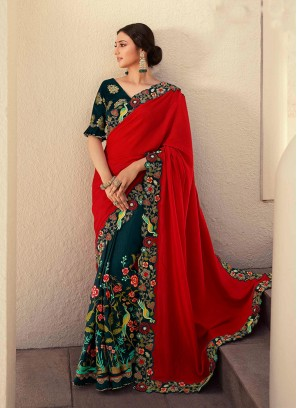 Red Color Silk Heavy Work Saree