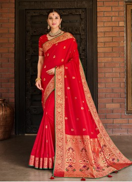 Red Color Silk Latest Design Saree