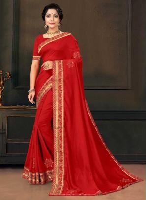 Red Color Silk Latest Saree