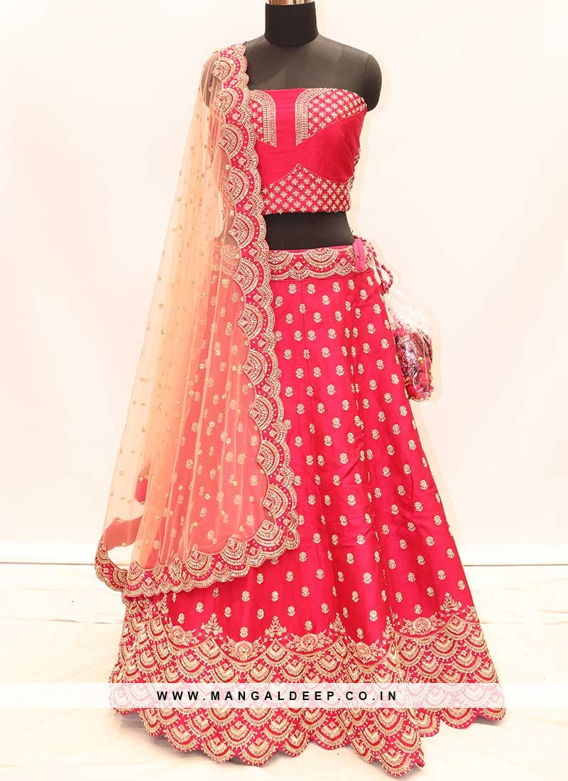 Red Color Silk Lehenga For Bride