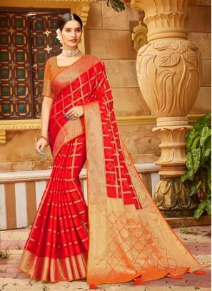 Red Color Silk Reception Wear Saree