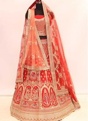 Red Color Silk Resham Work Bride Lehenga