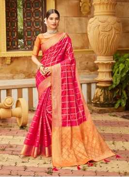 Red Color Silk Weaving Work Saree