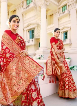 Red Color Silk Wedding Sarees