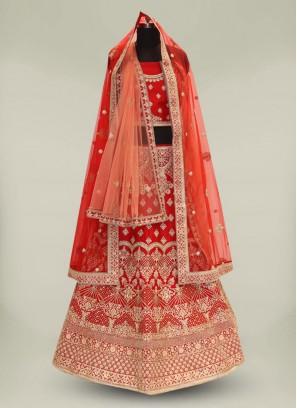 Red Color Stone Work Silk Lehenga