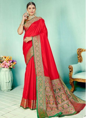 Red Color Two Tone Silk Party Wear Saree