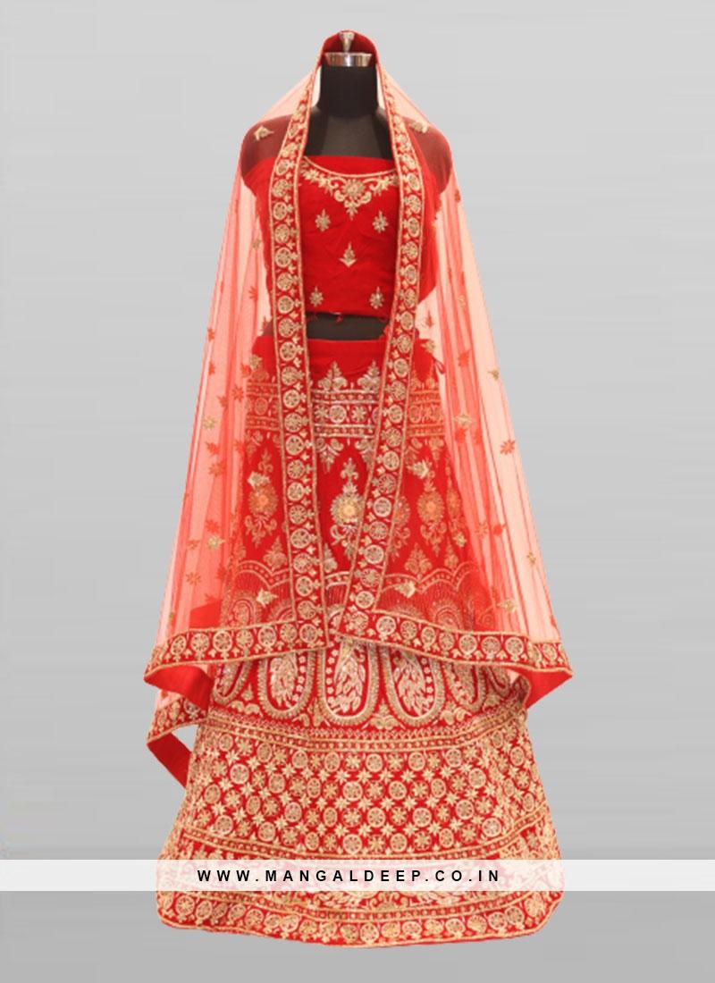 Red Color Velvet Bridal Wear Lehenga