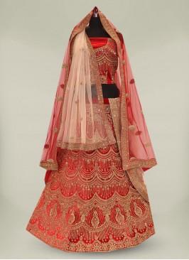 Red Color Velvet Diamond Work Bridal Lehenga