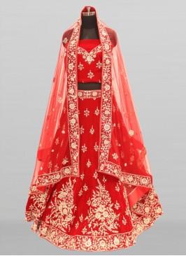 Red Color Velvet Wedding Wear Lehenga