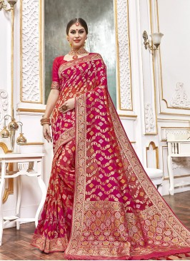Red Color Viscose Fancy Saree